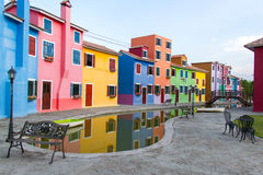 colorful townhouse and pond Royalty Free Stock Photo