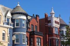 Colorful townhouses close up at Dupont Circle neighborhood in Washington DC. Stock Photo