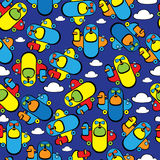 Colorful toy airplane seamless pattern Royalty Free Stock Photo