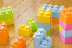 Colorful toy blocks. Still life photography Stock Images