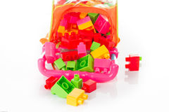 Colorful Toy Blocks Isolated on White Royalty Free Stock Photos