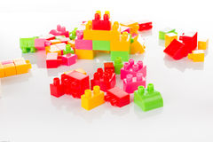 Colorful Toy Blocks Isolated on White Stock Images