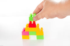 Colorful Toy Blocks Isolated on White Stock Photos