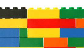 Colorful toy brick wall Stock Image