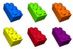 Colorful Toy Build Blocks for. Children and isolated stock illustration