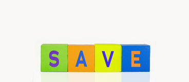 Colorful toy building blocks. In a line text save stock photography