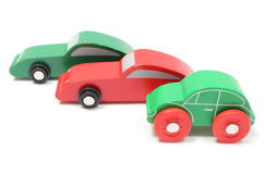 Colorful toy cars isolated on white background Stock Photos