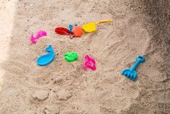 Colorful toy for children to play sand on the beach. In Hua Hin Prachup Khiri Khan Thailand Royalty Free Stock Photography