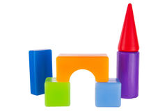 Colorful toy contruction plastic blocks Royalty Free Stock Images