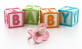 Colorful toy cubes forming baby word. 3D illustration Stock Photos