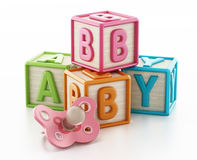 Colorful toy cubes forming baby word. 3D illustration Royalty Free Stock Images