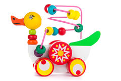 Colorful toy duck  isolated Stock Photos