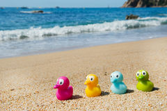 Colorful toy ducks  at beach Royalty Free Stock Photo