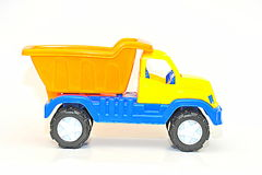 Colorful toy dumper isolated on white Stock Image