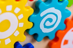 Colorful Toy Gears Stock Photo