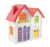 Colorful toy house with clipping path. Isolated on white background Royalty Free Stock Image