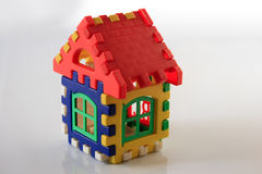 Colorful toy house on white background Royalty Free Stock Photos