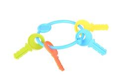 Colorful toy keys isolated on white background Stock Photos