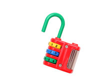 Colorful toy padlock. Isolated on white background Royalty Free Stock Photos