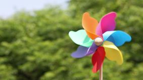 Colorful toy pin wheel. Whirligig toy, garden-ornament