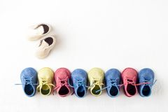 Colorful toy shoes stock images