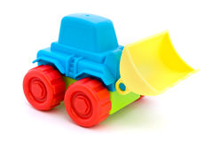 Colorful toy tractor over white Stock Photo