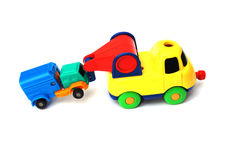 The colorful toy trail truck dragging Stock Photo