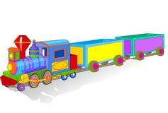 Colorful toy train. Illustration of Beautiful multi colored toy train Royalty Free Stock Photo