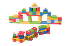 Colorful toy train and toy blocks Stock Photos