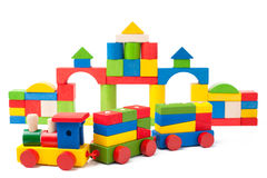 Colorful toy train and toy blocks Royalty Free Stock Image