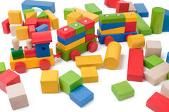 Colorful toy train and toy blocks Royalty Free Stock Images