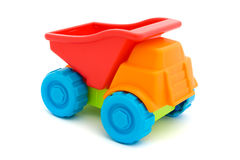 Colorful toy truck over white Stock Images