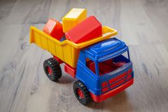 Colorful toy truck. stock photos