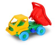 Colorful toy truck unload Stock Photography