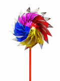Colorful toy windmill isolated Royalty Free Stock Photo