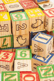 Colorful toy wooden block letters Royalty Free Stock Image