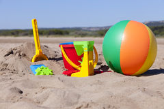 Colorful Toys on the Beach Stock Photo