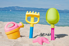 Colorful toys for childrens sandboxes Royalty Free Stock Photography