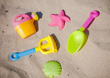 Colorful toys for childrens sandboxes Royalty Free Stock Images