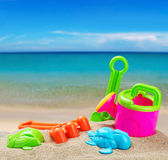 Colorful toys for childrens sandboxes Stock Photos