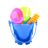 Colorful toys for childrens on white Royalty Free Stock Photos