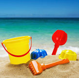 Colorful Toys For Childrens Sandboxes Against The Sea Royalty Free Stock Images