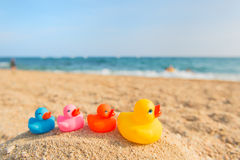 Colorful toys at the summer beach stock image