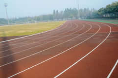 Colorful tracks and field Stock Photo