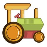 Colorful tractor toy icon, cartoon style Royalty Free Stock Image