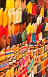 Traditional Moroccan Shoes. Colorful traditional arabic footwear in the street market in Fez Stock Photography