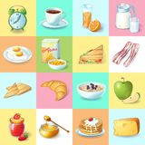 Colorful Traditional Breakfast Elements Collection Royalty Free Stock Image