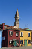 Colorful Traditional Buildings in Burano, Venice stock photo