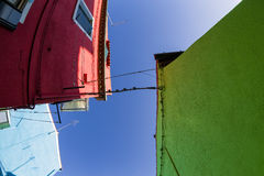 Colorful Traditional Buildings in Burano, Venice Royalty Free Stock Photos
