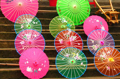 Colorful traditional chinese umbrellas stock photo